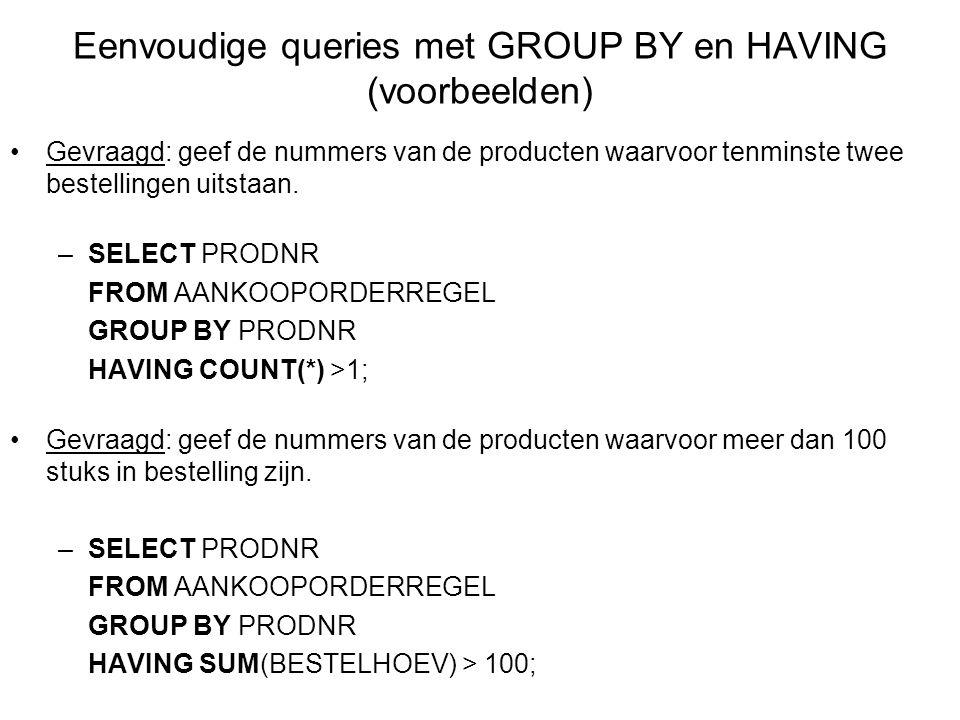 Eenvoudige queries met GROUP BY en HAVING (voorbeelden)