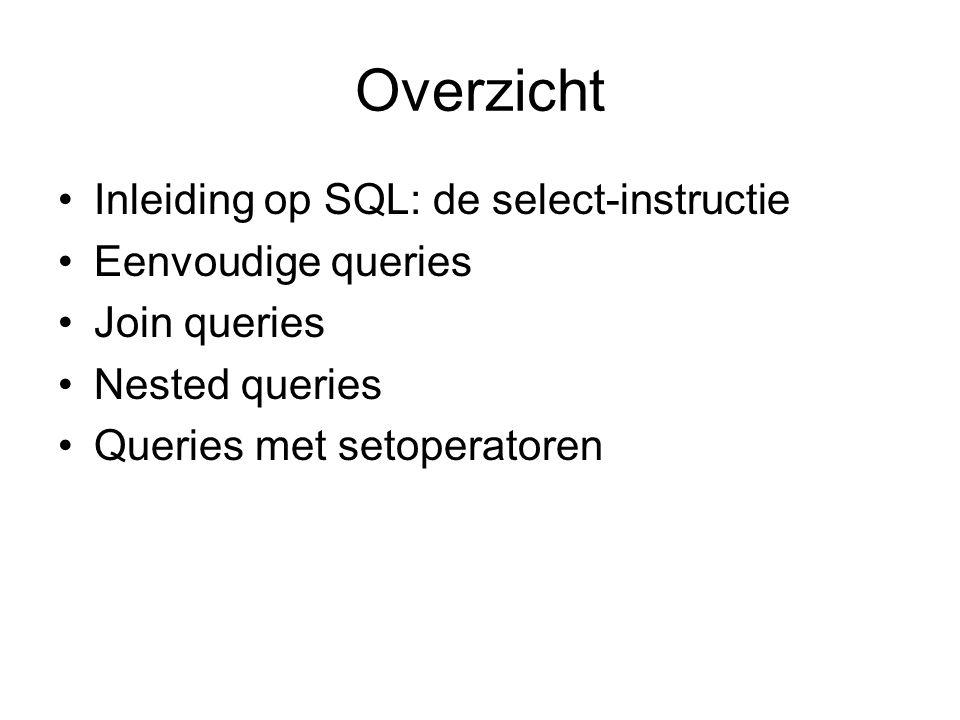 Overzicht Inleiding op SQL: de select-instructie Eenvoudige queries