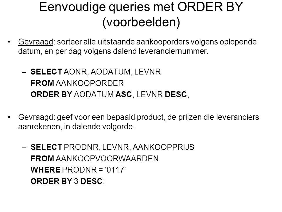 Eenvoudige queries met ORDER BY (voorbeelden)