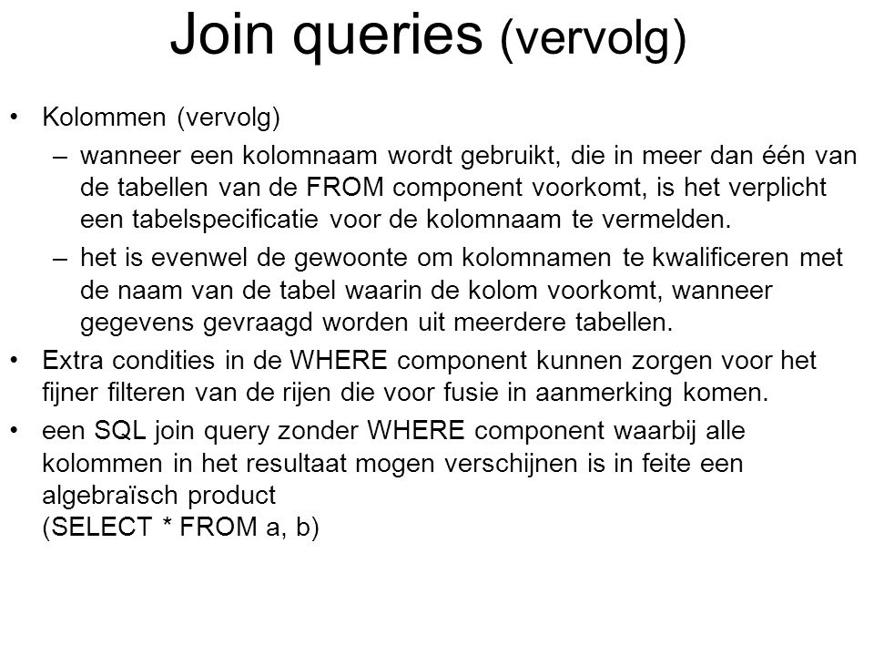 Join queries (vervolg)