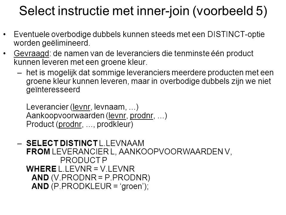 Select instructie met inner-join (voorbeeld 5)