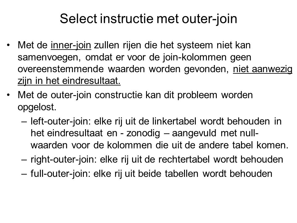 Select instructie met outer-join