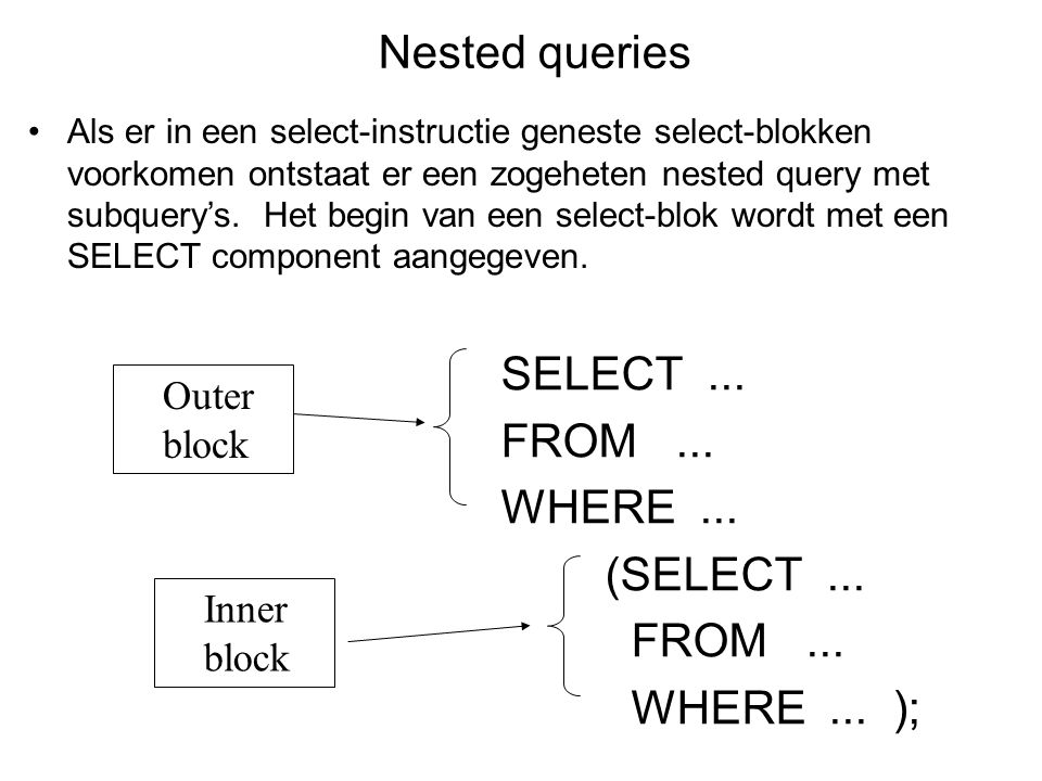 Nested queries SELECT ... FROM ... WHERE ... (SELECT ... WHERE ... );