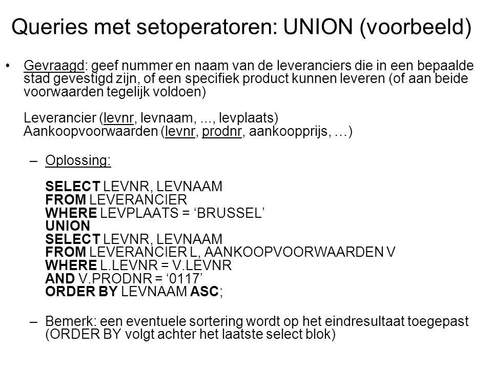 Queries met setoperatoren: UNION (voorbeeld)