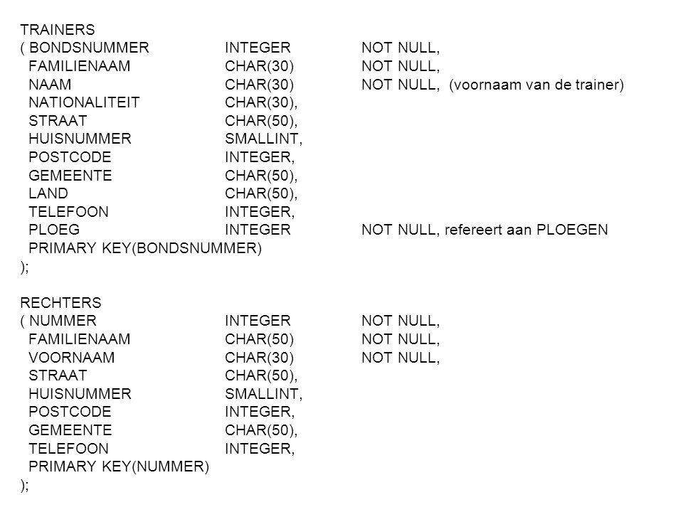 TRAINERS ( BONDSNUMMER INTEGER NOT NULL, FAMILIENAAM CHAR(30) NOT NULL, NAAM CHAR(30) NOT NULL, (voornaam van de trainer)