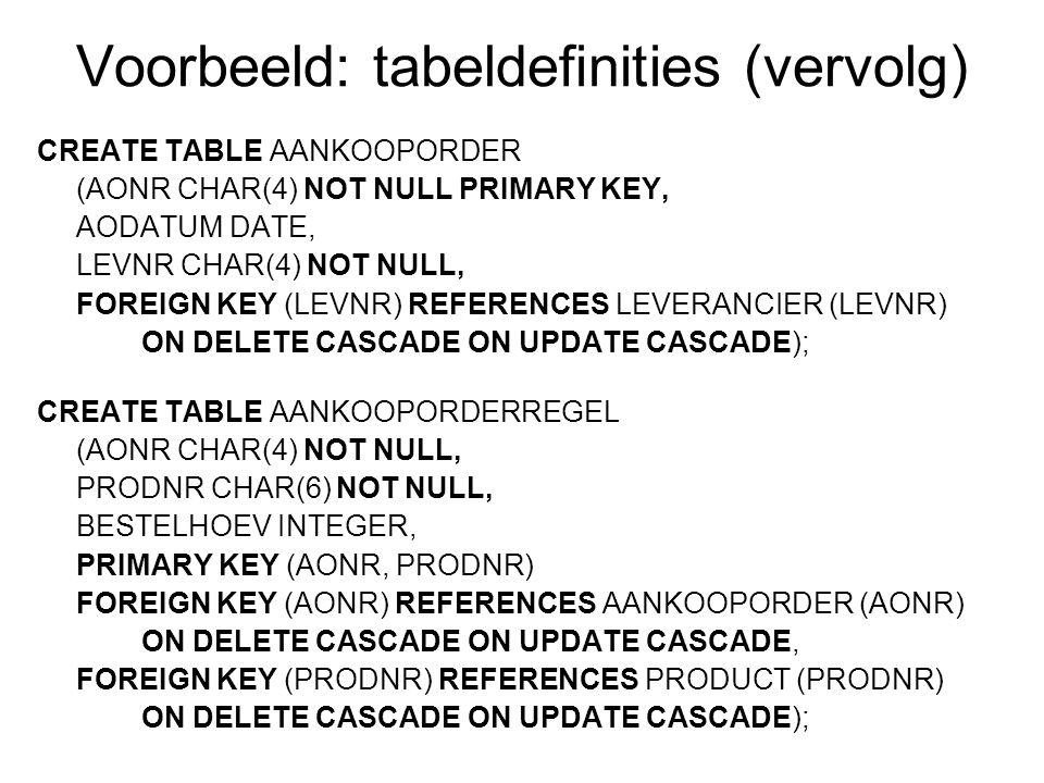 Voorbeeld: tabeldefinities (vervolg)