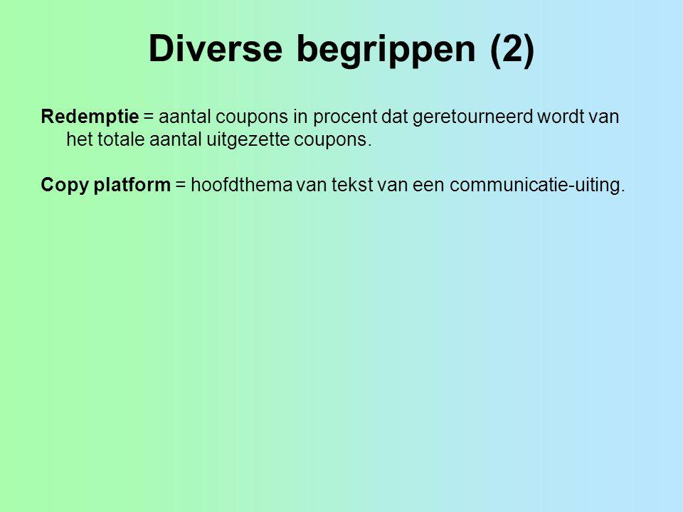 Diverse begrippen (2) Redemptie = aantal coupons in procent dat geretourneerd wordt van het totale aantal uitgezette coupons.