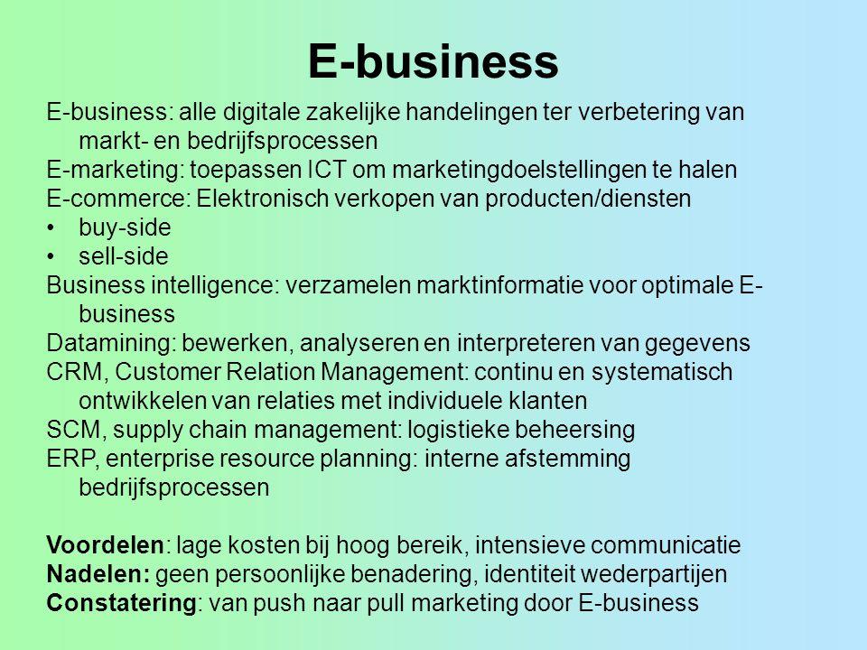 E-business E-business: alle digitale zakelijke handelingen ter verbetering van markt- en bedrijfsprocessen.
