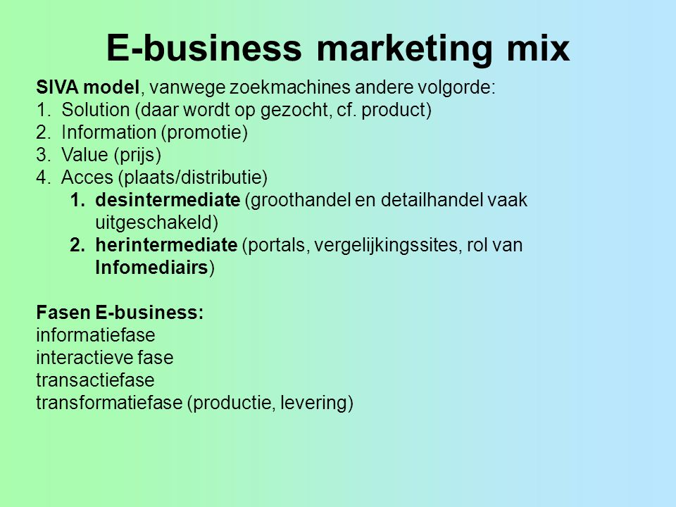 E-business marketing mix