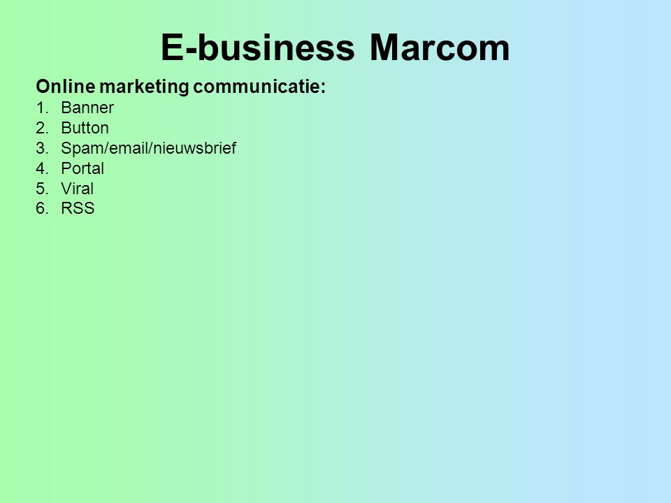 E-business Marcom Online marketing communicatie: Banner Button