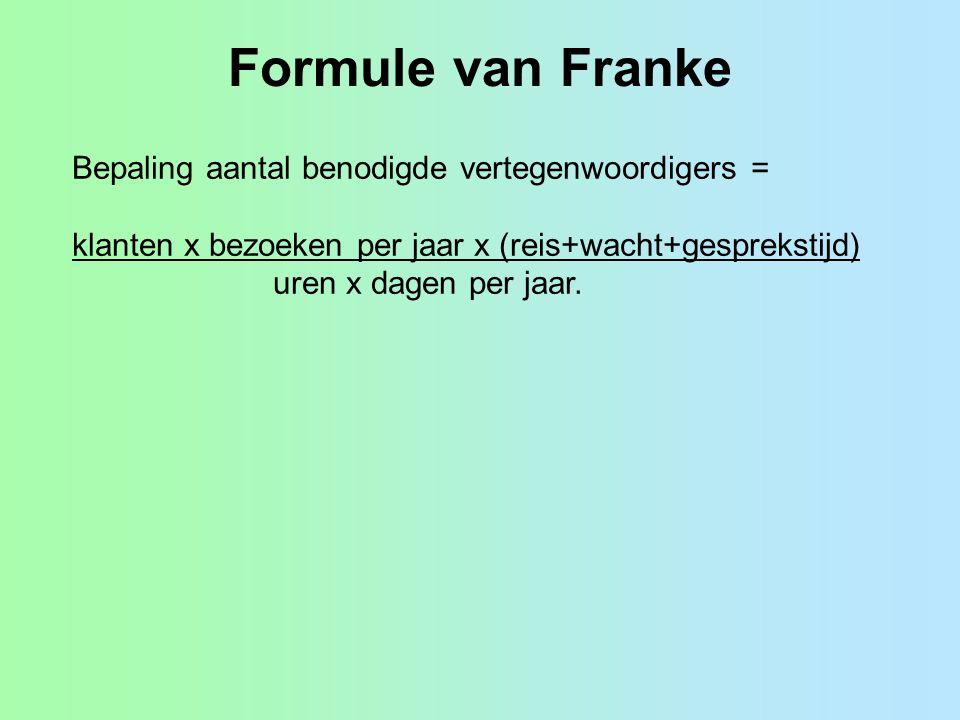 Formule van Franke Bepaling aantal benodigde vertegenwoordigers =