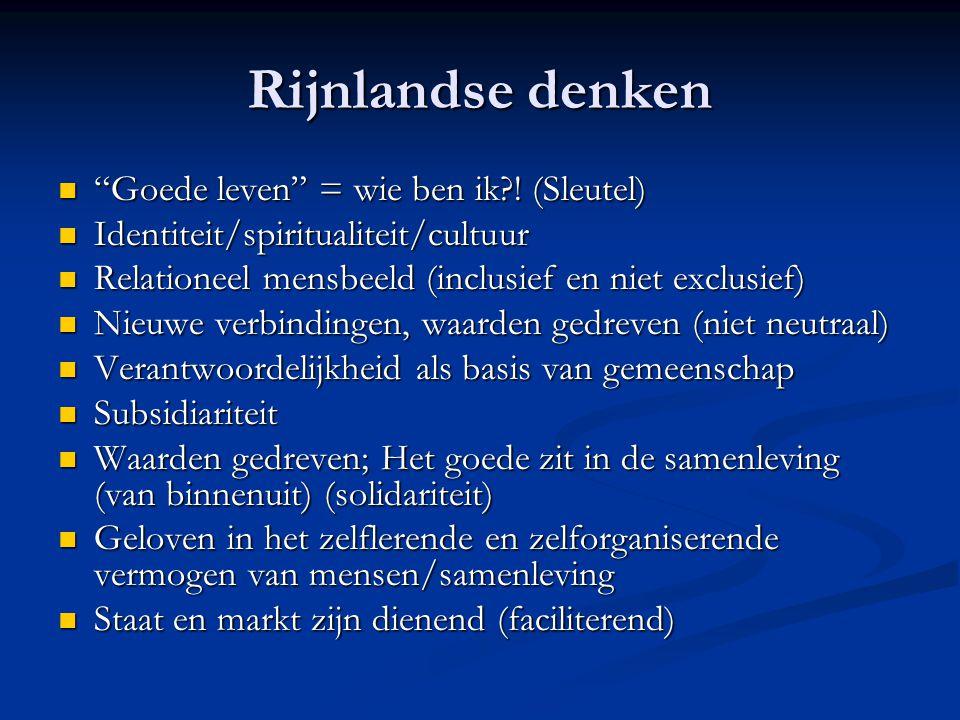 Rijnlandse denken Goede leven = wie ben ik ! (Sleutel)