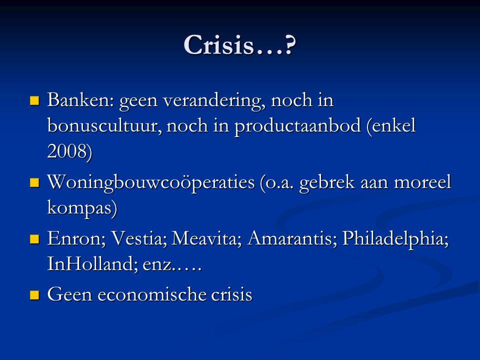 Crisis… Banken: geen verandering, noch in bonuscultuur, noch in productaanbod (enkel 2008) Woningbouwcoöperaties (o.a. gebrek aan moreel kompas)