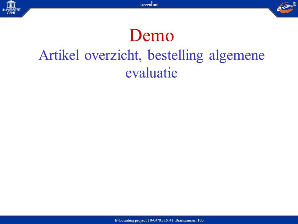 Demo Artikel overzicht, bestelling algemene evaluatie