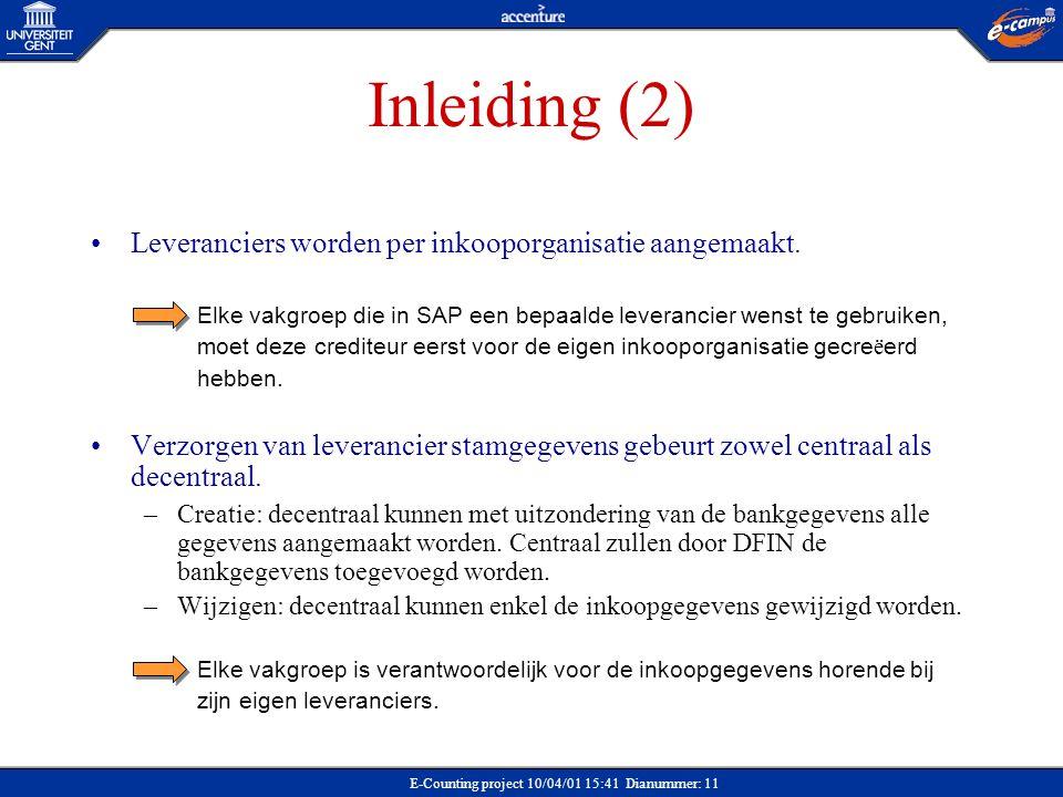 Inleiding (2) Leveranciers worden per inkooporganisatie aangemaakt.