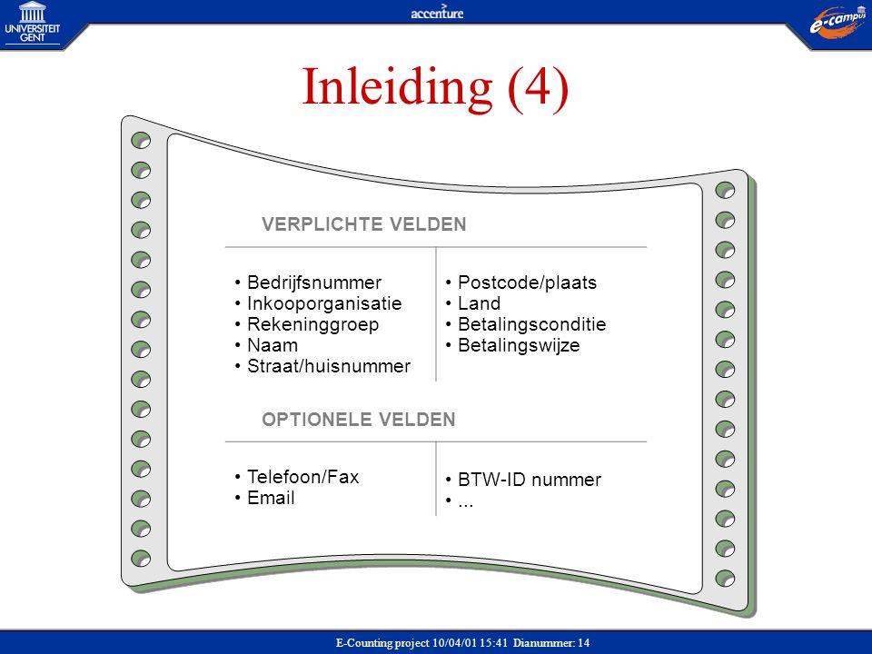 Inleiding (4) VERPLICHTE VELDEN Bedrijfsnummer Inkooporganisatie