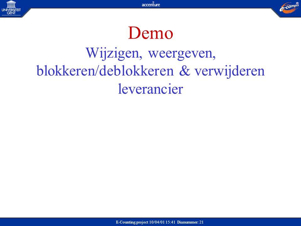 Demo: Wijzigen leverancier