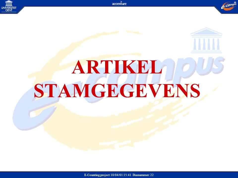 ARTIKEL STAMGEGEVENS