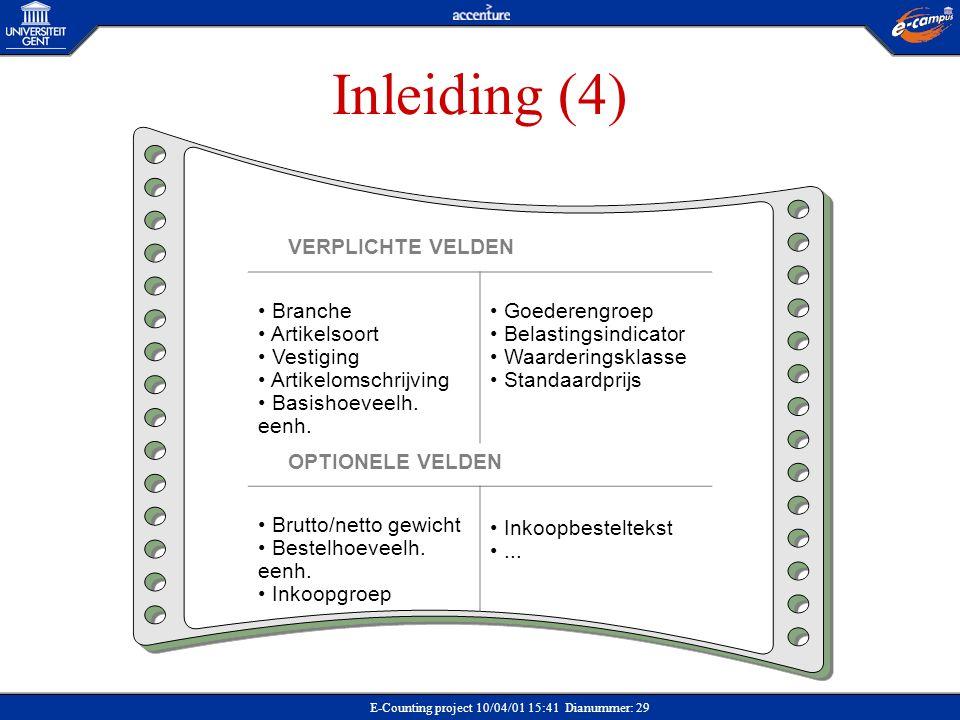 Inleiding (4) VERPLICHTE VELDEN Branche Artikelsoort Vestiging