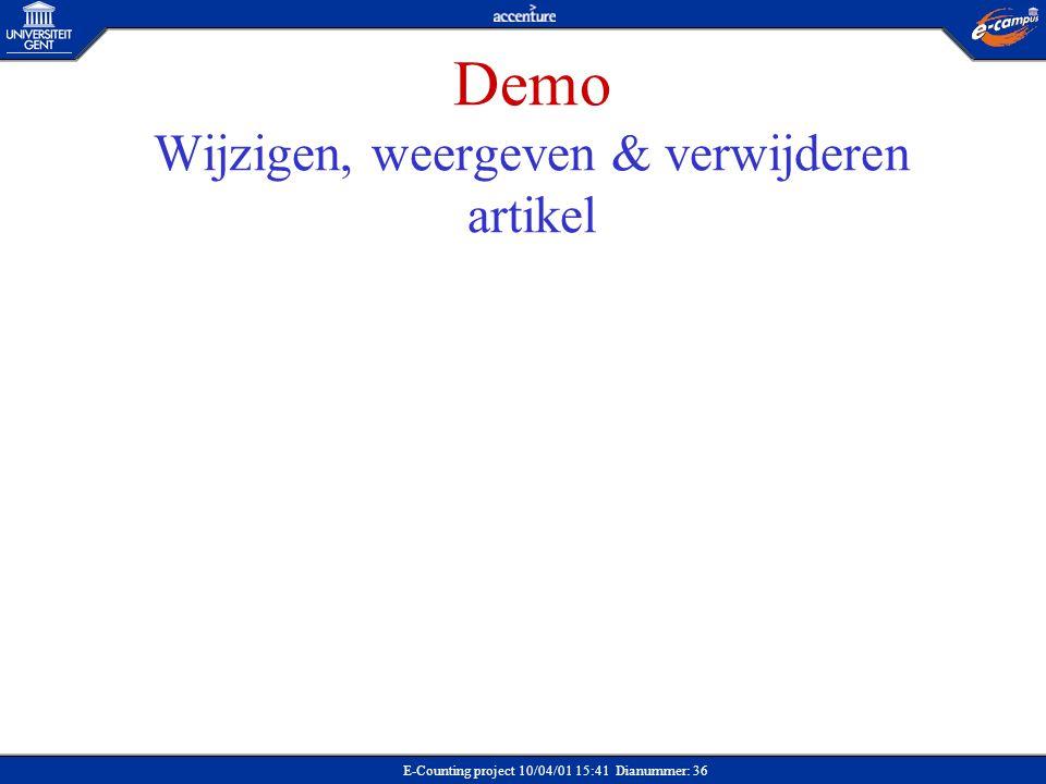 Demo Wijzigen, weergeven & verwijderen artikel