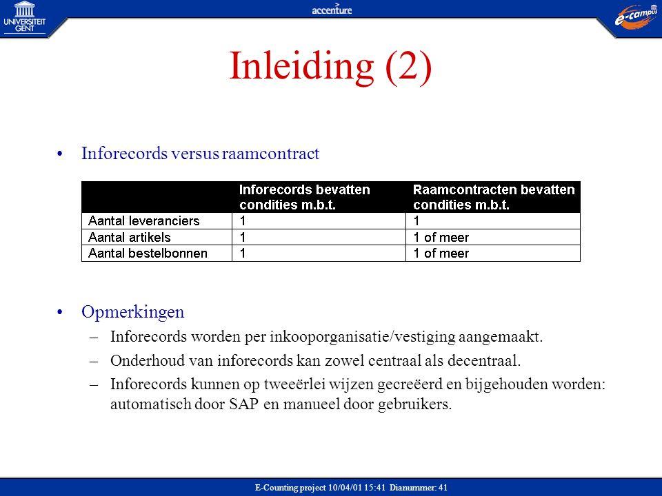 Inleiding (2) Inforecords versus raamcontract Opmerkingen