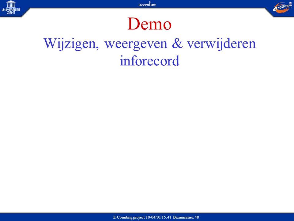 Demo Wijzigen, weergeven & verwijderen inforecord