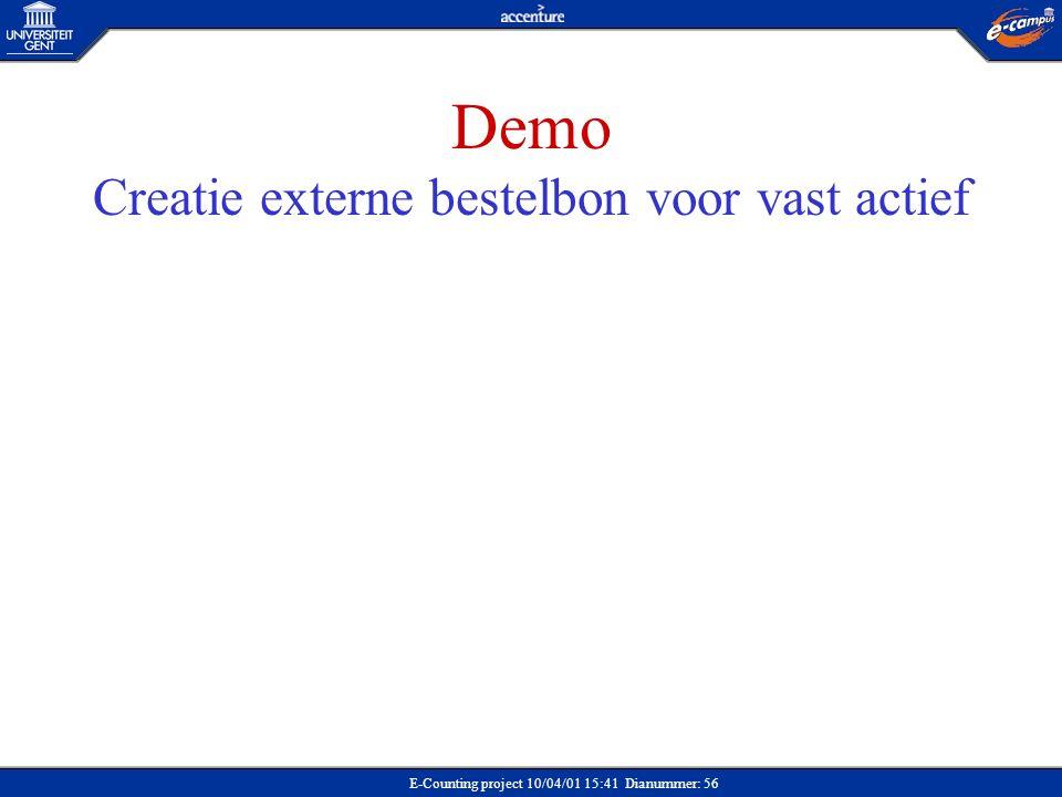 Demo Creatie externe bestelbon voor vast actief