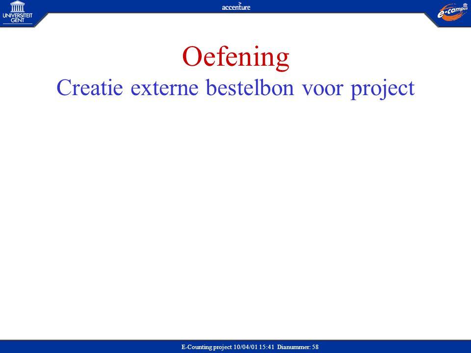 Oefening Creatie externe bestelbon voor project