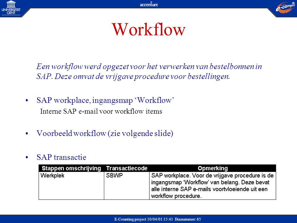 Workflow Een workflow werd opgezet voor het verwerken van bestelbonnen in SAP. Deze omvat de vrijgave procedure voor bestellingen.