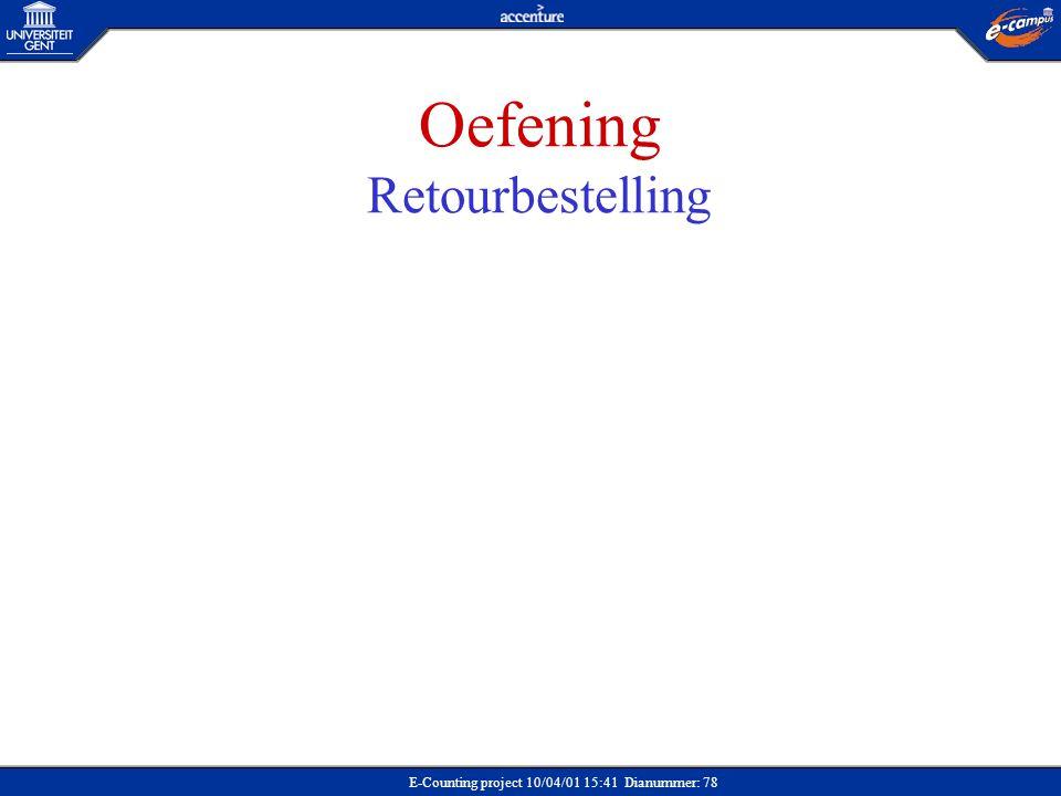 Oefening Retourbestelling