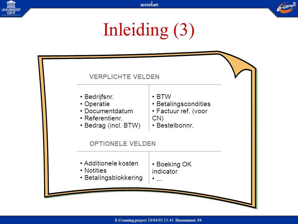 Inleiding (3) VERPLICHTE VELDEN Bedrijfsnr. Operatie Documentdatum