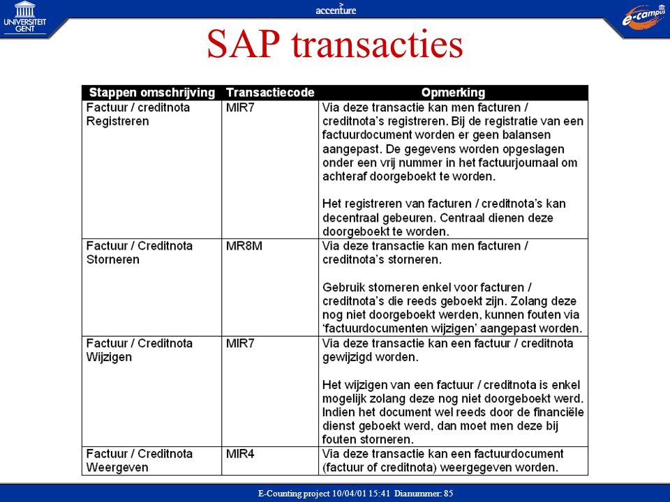 SAP transacties