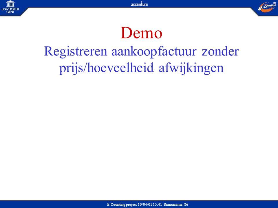 Demo Registreren aankoopfactuur zonder prijs/hoeveelheid afwijkingen