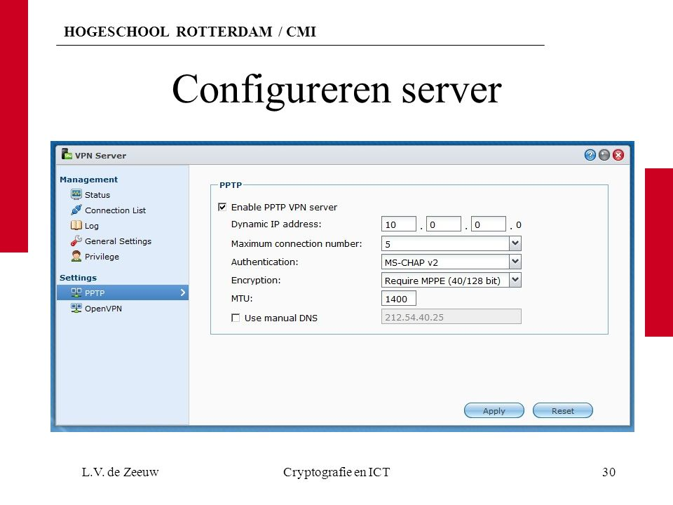 Configureren server L.V. de Zeeuw Cryptografie en ICT
