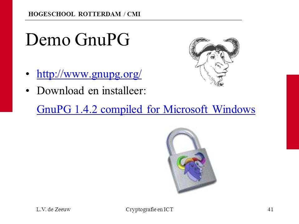 Demo GnuPG http://www.gnupg.org/ Download en installeer: