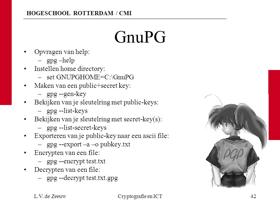GnuPG Opvragen van help: gpg –help Instellen home directory: