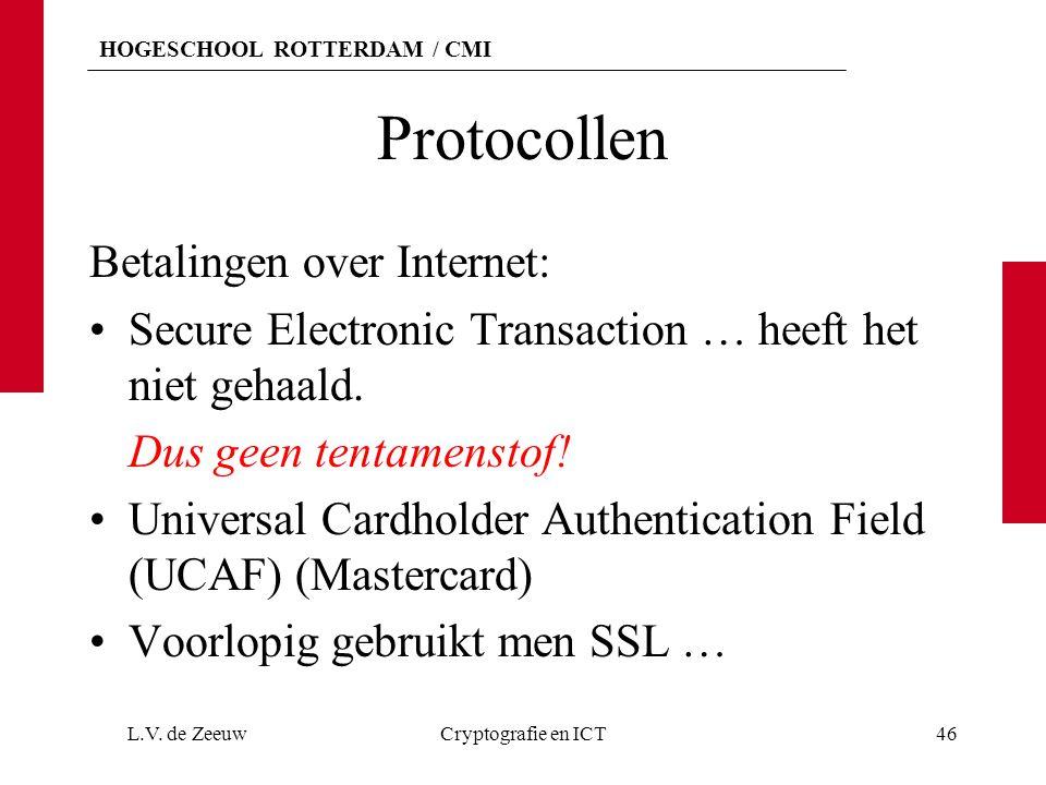 Protocollen Betalingen over Internet: