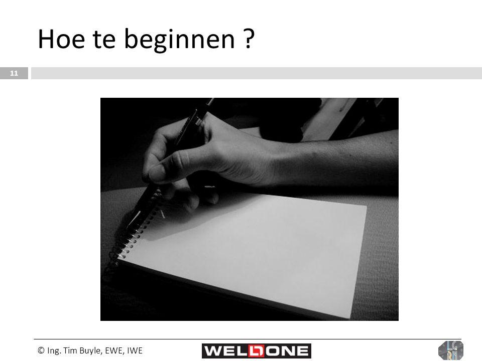 Hoe te beginnen © Ing. Tim Buyle, EWE, IWE