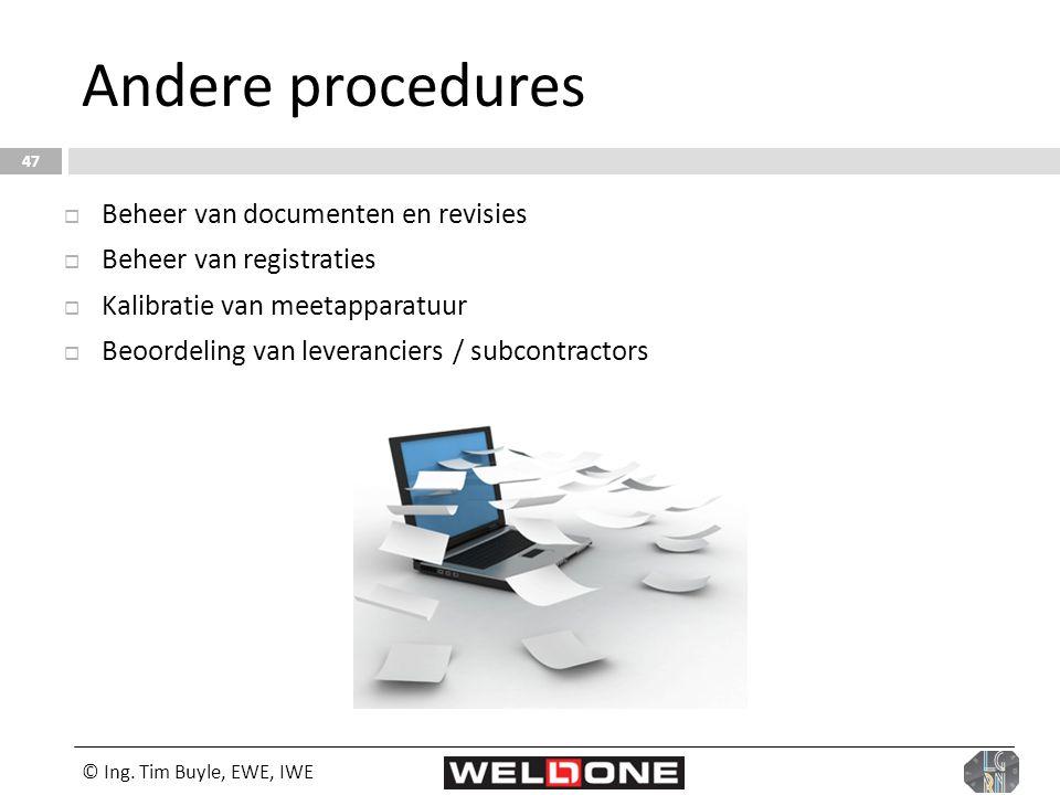 Andere procedures Beheer van documenten en revisies