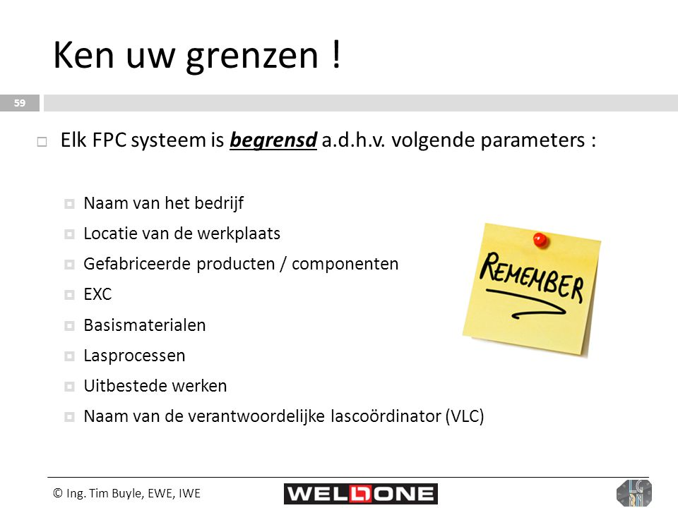 Ken uw grenzen ! Elk FPC systeem is begrensd a.d.h.v. volgende parameters : Naam van het bedrijf. Locatie van de werkplaats.