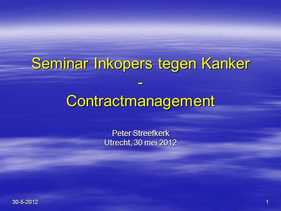 Seminar Inkopers tegen Kanker - Contractmanagement Peter Streefkerk Utrecht, 30 mei 2012