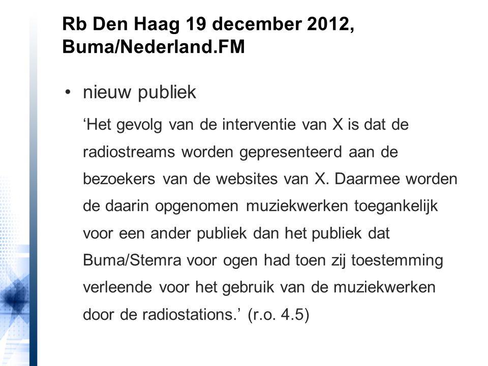 Rb Den Haag 19 december 2012, Buma/Nederland.FM