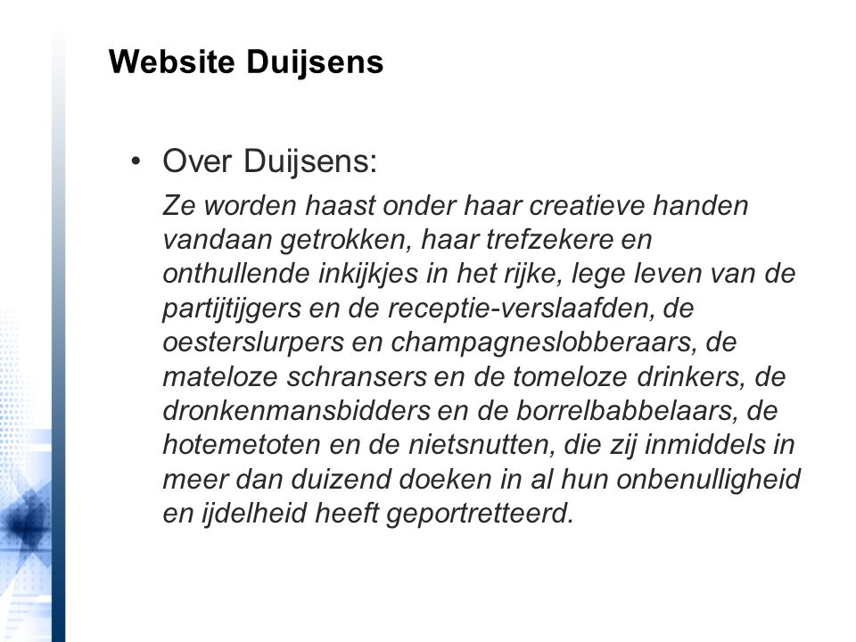Website Duijsens Over Duijsens: