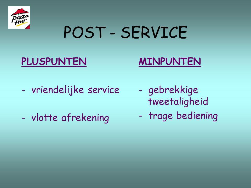 POST - SERVICE PLUSPUNTEN - vriendelijke service - vlotte afrekening