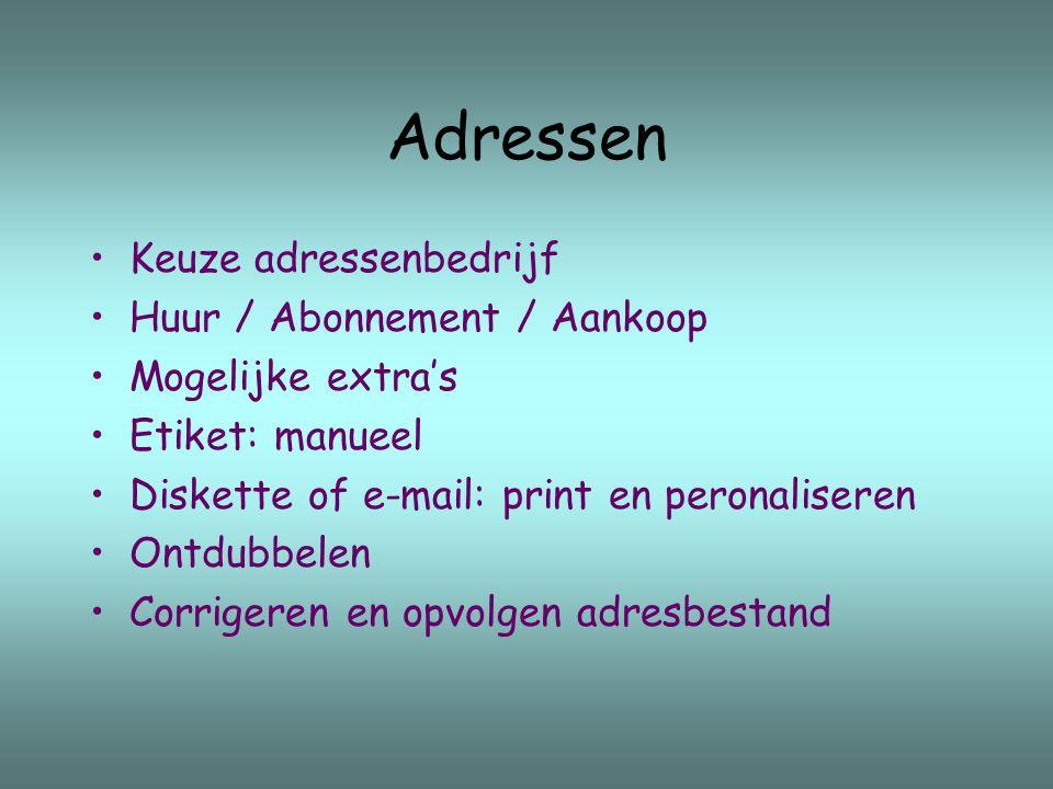 Adressen Keuze adressenbedrijf Huur / Abonnement / Aankoop