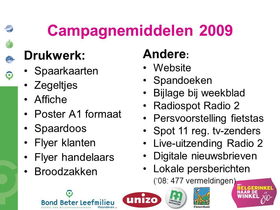 Campagnemiddelen 2009 Drukwerk: Andere: Spaarkaarten Zegeltjes Affiche