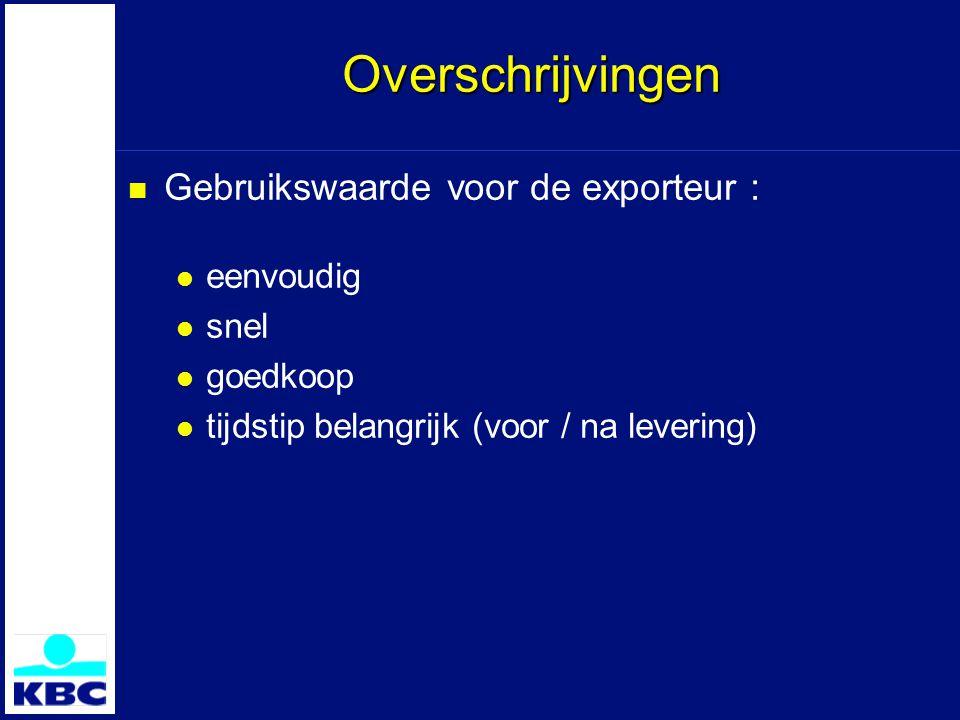 Overschrijvingen Gebruikswaarde voor de exporteur : eenvoudig snel