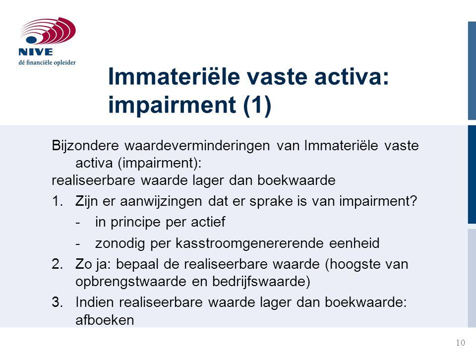 Immateriële vaste activa: impairment (1)