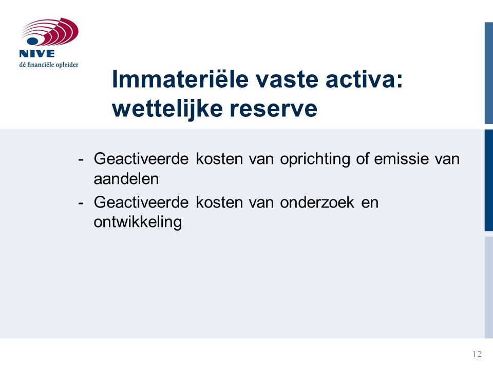 Immateriële vaste activa: wettelijke reserve