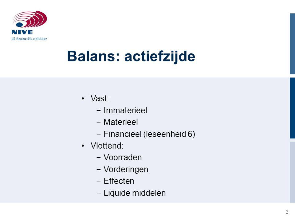 Balans: actiefzijde Vast: Immaterieel Materieel